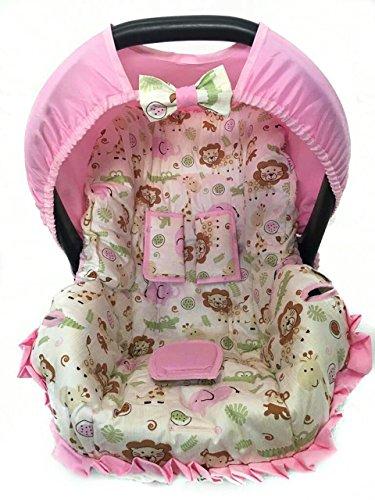 Capa para Bebe Conforto, Safari Elefante Rosa, Multimarcas sem Bordado, Alan Pierre Baby, Branco/Rosa
