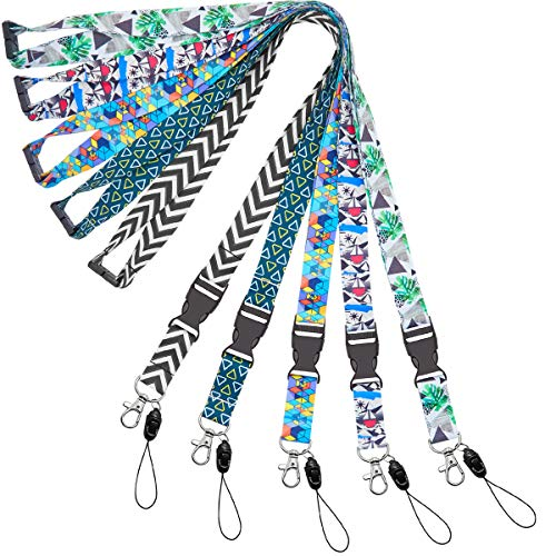 YOUOWO Lanyard for id Badge Holder Keys Women Cruise Lanyards for Ship Card Breakaway Safety Quick Release Office Neck Lanyards Wide 2cm 5 Pack