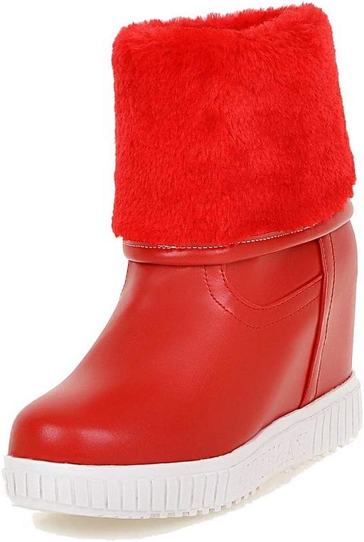 AmoonyFashion Women's Solid Pu High-Heels Pull-On Closed-Toe Boots, BUSXT118358