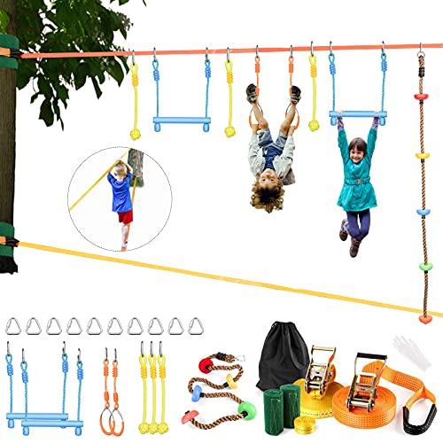S SMAUTO Ninja Slackline Set,2 x15M Ninja Slackline klettergerüst Outdoor mit kletterseil gartenspiele für kinderbalancieren Kinder