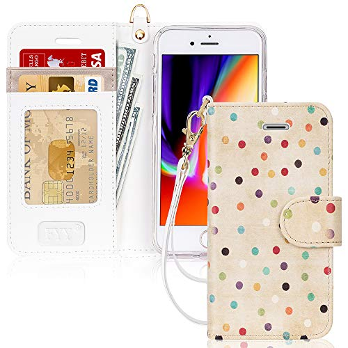 FYY Case for iPhone 7/8/SE 2020, Luxury PU Leather Wallet Phone Case with Card Holder Flip Cover for iPhone 7/iPhone 8/iPhone SE 2020 (2nd Gen) 4.7 inch - Dot