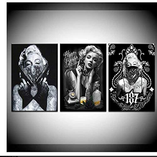 JLFDHR Druck auf Leinwand 3x60x100cm Schwarzgoldrahmen Tattoo Marilyn Monroe Kunstdrucke Schwarz Weiß Pop Art Poster Sexy Porträt für Home Office Dekore