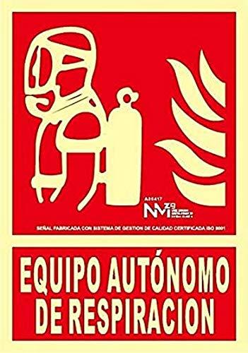 Normaluz NM RD00117 - Señal Luminiscente Equipo Autónomo de Respiración Clase B PVC 0,7mm 21x30cm con CTE, RIPCI y Apto para la Nueva Legislación, Rojo