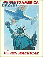 ERZANノスタルジックなデザインが人気のブリキ看板ウィングストゥアメリカニューヨークユナイテッド航空ヴィンテージトラベル壁の装飾牌20x30cm