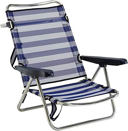 Silla Plegable de Playa con asa de Aluminio fibreline Rayas Azul/Blanco Hamaca Tumbona Impermeable (1 Unidad)