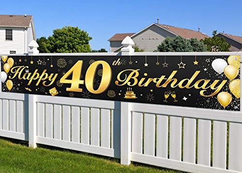 40. Geburtstagsfeier Dekorationen Banner für Männer und Frauen, wesentliche Dekoration für 40. Geburtstagsfeier, Lange Größe Schwarz und Gold 40. Geburtstag Banner 210 × 40 cm (82,7 × 15,7 Zoll)