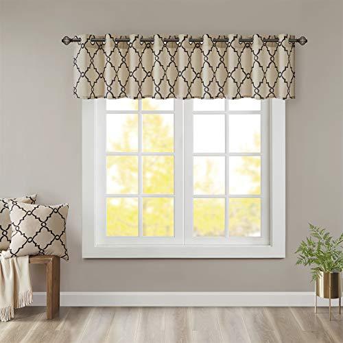 Madison Park Saratoga Window Curtain Light Filtering Fretwork Print 1 Panel Grommet Top Drapes/Valance for Living Room Bedroom and Dorm, 50x18, Khaki