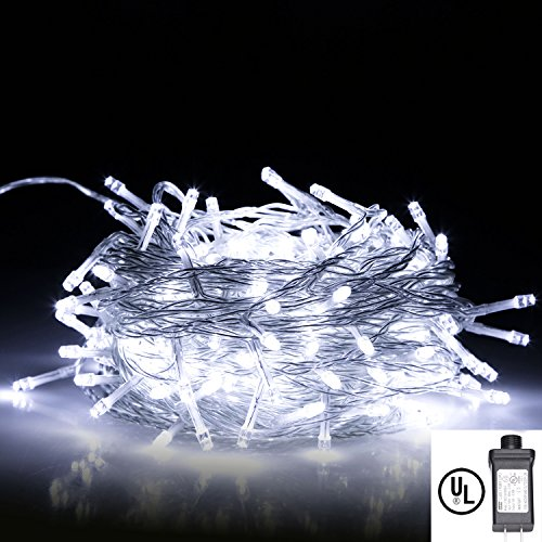 String Lights,Bienna UL Listed Plug In 200 LED 100 ft/30M Multi Color Starry Fairy Lighting [8 Modes] [Waterproof] for Bedroom Outdoor Indoor Patio Home Christmas Xmas Holiday Wedding Party-Cool White