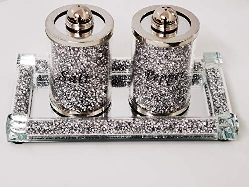 Biznest Set Of Diamond Crushed Salt Pepper Jars & Mirrored Crystal Candle Plate 39X18Cm Elegant Addition To Your Home- Best Gift