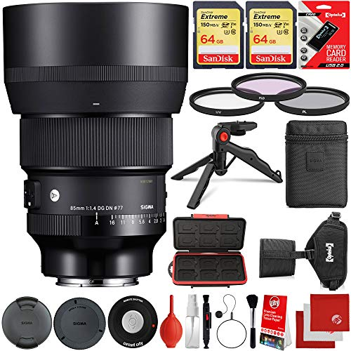 Sigma 85mm f/1.4 DG DN Art Lens Sony E-Mount Bundle with 2X 64GB Extreme Memory Cards, IR Remote, 3 Piece Filter Kit, Wrist Strap, Card Reader, Memory Card Case, Tabletop Tripod, Microfiber Cloths