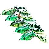 Rana Topwater Señuelo Señuelos de Pesca Ray Frog Señuelos de Rana de Superficie Para Todo tipo de Peces Agua Dulce Agua Salada Cebos Flotantes 3D Señuelos de Rana de Pesca Estilo Aleatorio verde