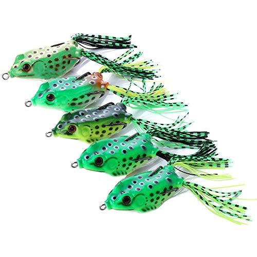 Ray Frog Angelköder Topwater Frog Lures Topwater Angeln Kurbelköder Köder Doppelpropeller Frösche Angelköder Für Alle Arten Von Fisch Süßwasser Salzwasser 3D Floating Baits (5pcs zufälliger Stil)