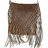 """Leder-Tasche """"Indian"""" 30x25cm Hellbraun • marokkanische Umhängetasche mit Fransen in..."""