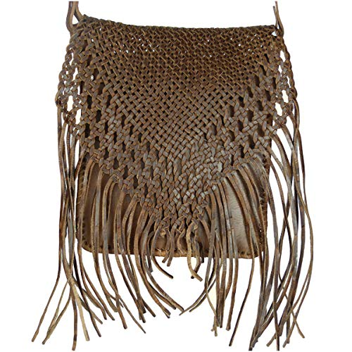 """Leder-Tasche """"Indian"""" 30x25cm Hellbraun • marokkanische Umhängetasche mit Fransen in Flecht-Optik • 100% Handarbeit & Rindsleder • Handtasche aufklappbarmit 2 Fächern"""