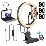 Desktop Ring Light 10.2'' with Clamp Mount,Selfie Tabletop Ringlighting for Desk Zoom Meeting,Webcam,Computer Monitor,Video Conferencing and Laptop Clip,Makeup Ringlight with Phone Stand Holder