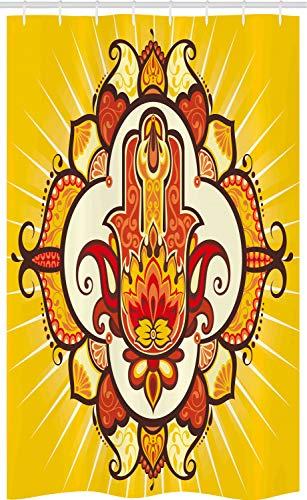 ABAKUHAUS Hamsa Schmaler Duschvorhang, Sonne Aura Energie, Badezimmer Deko Set aus Stoff mit Haken, 120 x 180 cm, Orange Gelb Braun