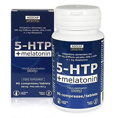 5-HTP e Melatonina, Favorisce il Buonumore ed il sonno | 90 compresse, 300 mg di Griffonia Titolata al 20%, 1 mg di Melatonina | Prodotti per dormire, Supporto all'umore | Agocap, Griffonia Forte