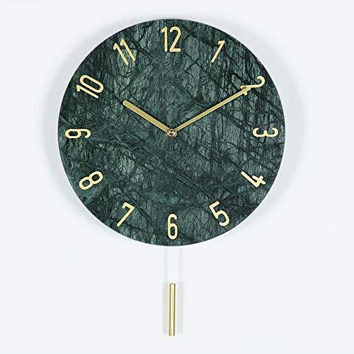 CEyyPD Moderno Minimalista Redondo De Mármol Puntero De Cobre Reloj De Pared Mute Swing Reloj De Pared 12 Pulgadas Negro Blanco Verde