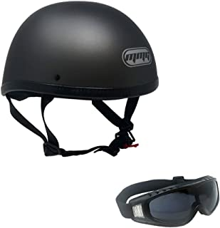 Motorcycle Skull Cap Half Helmet Cruiser DOT Approved - MEDIUM - Titanium Gray with Smoked Goggles 885