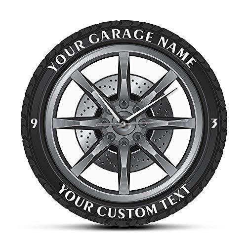 JXCDNB Passen Sie Ihren Namen Garage Reparatur Service Auto Garage Acryl Wanduhr Reifen Oldtimer Mechaniker Werkstatt Dekoration 12 Zoll