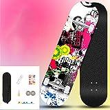 YSCYLY Skateboard ComplèTe,80 * 20cm Skateboard Double Rocker avec Roues d'action,pour Adultes Tricks Skate Board pour DéButants