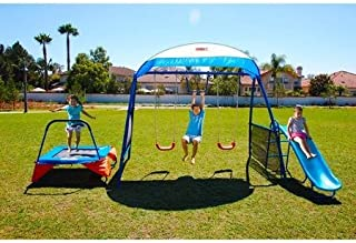 250 Fitness, Secured By Corkscrew-Shaped Ground, Playground Metal Swing Set, Blue
