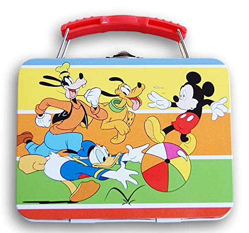 Mickey Mouse Tin Metal Carryall Box Tote with Handle - Measures 5.5 x 4.25 Inches (Mickey, Donald, Pluto, and Goofy)