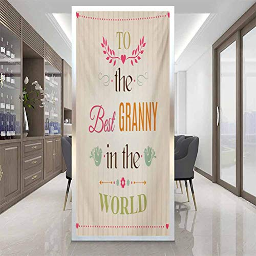 Waterproof Static Cling Glass Window Sticker, Grandma Best Granny Quote with Bird Silhouettes Leaves, Home Window Tint Film Heat Control, W35.4 x H78.7 Inch