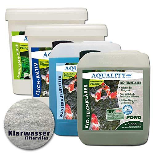 AQUALITY 5er Teichpflege Komplettset (Perfekte Gartenteich-Pflege. Wasseraufbereiter, Teichklärer, Teich-Aktiv und Fadenalgen-Vernichter + GRATIS Filtervlies), Set-Größe:XXL Teichpflege-Set