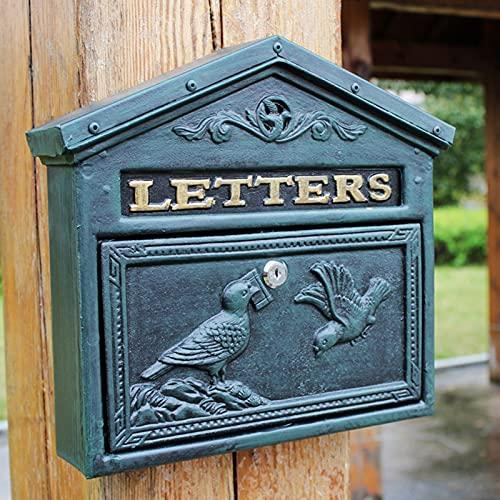 OUUUKL Briefkasten an der Wand - Moderner Briefkasten mit Schloss und Schlüssel - Briefkasten aus Aluminium mit Vogel Design - Wasserdichter Briefkasten für Wohnungen und Häuser