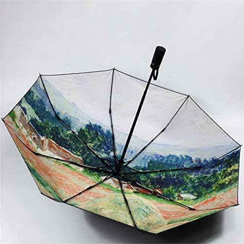 Mdsgfc paraguas de pintura al óleo para las mujeres automático lluvia sol paraguas negro capa UV paraguas automático-5