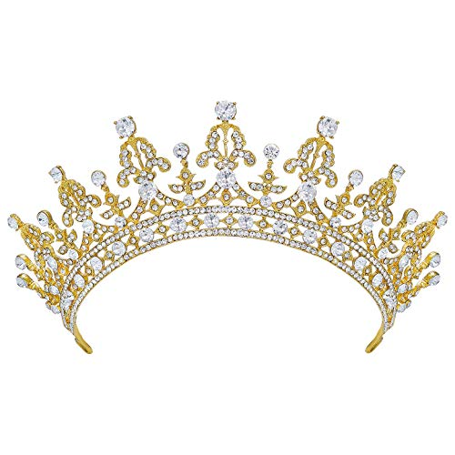 SWEETV Princess Crown CZ Crystal Pageant Queen Tiara Bridal Wedding Headpiece Women Hair Jewelry, Gold+Clear