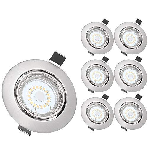 6 Piezas Foco Empotrable LED, Tomshine GU10 5W 500LM Focos Led Empotrables en Techo, Ra80 Ojos de Buey de Led Marco Esmerilado,3000K Blanco Cálido/30° Rango Rotación/110 ° Ángulo de Iluminación