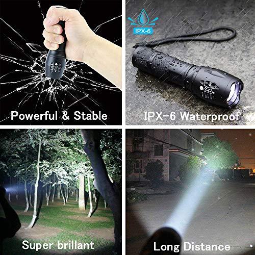 Lampe Torche de Poche LED Rechargeable, 1200 Lumens Puissante, Etanche avec 5 Modes Zoom Réglable (Torche noir)