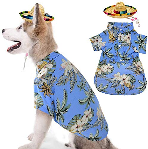Hawaiian Dog T-Shirt with Straw Hat Summer Camp Clothes Coconut Tree Pineapple and Flower Apparel Suit for Small to Medium Dogs Blue