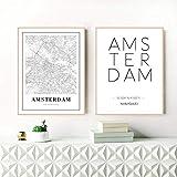 Druck auf Gemälde Amsterdam Stadtplan Poster Wandkunst