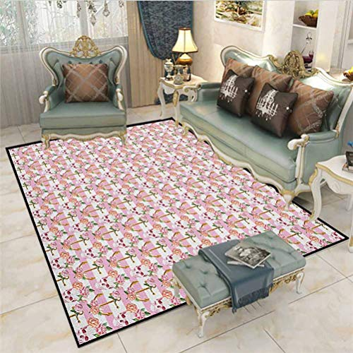 Nautical entryway Rugs Indoor Small Rug Watercolor Art Marine Skull and Anchor with Roses Vintage Feminine Pattern Desk Chair mat for Carpet Pink Green White 3 x 5 Ft