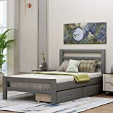 Bed Frame with Storage Drawers and Headboard, Wood Platform Bed Frame Mattress Foundation/Wooden Slat Support/No Box Spring Needed/Easy Assemble, Grey (Grey, Twin)