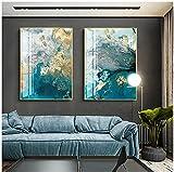 FUMOJI Cuadros sobre lienzo, impresión abstracta dorada y azul, acuarela, moderno lienzo para salón, sin marco (60 x 80 cm x 2)
