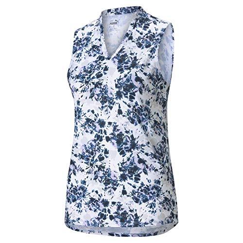PUMA Golf Women's Cloudspun Floral Tie Dye Sleeveless Polo, Navy Blazer-Light Lavender, Extra Large