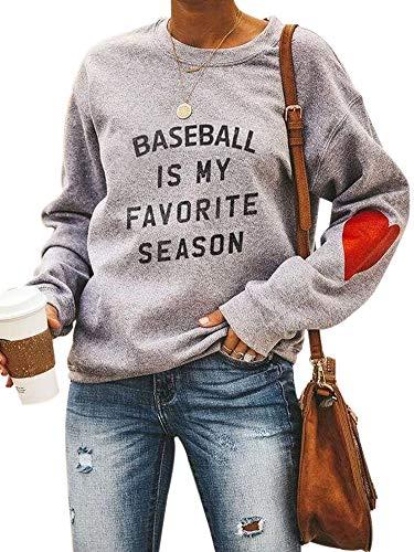 Women Fashion Letter Print Sweatshirt Long Sleeve Cute Heart Elbow Patch Pullover Tops Gery-4-M