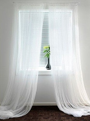 """Empire Home Solid Pure White Sheer Voile Curtain Window Curtain Panel/Valance (108"""" Extra Long Panel)"""