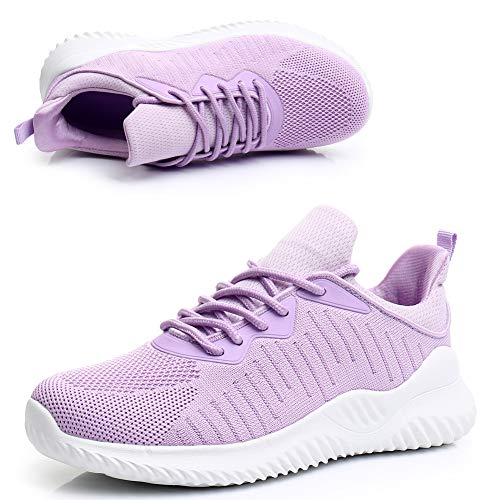 Zapatillas de malla para mujer para caminar, para deportes, gimnasio, tenis, color Morado, talla 39.5 EU