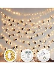 إضاءة سلسلة مشابك صور 10 متر 100 مصباح ليد ذات 8 أوضاع تعمل بالبطارية ووصلة يو أس بي لتعليق الصور والبطاقات والمذكرات والأعمال الفنية (مع 50 مشبك)، أبيض دافئ