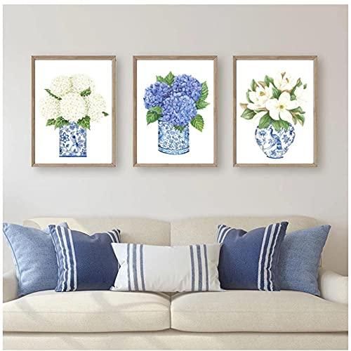 DLFALG Blanco azul estilo sauce jengibre tarro chinoiserie lienzo pintura orquídea jarrón oriental cartel de porcelana impresión de imagen decoración del hogar-40x50cmx3 sin marco