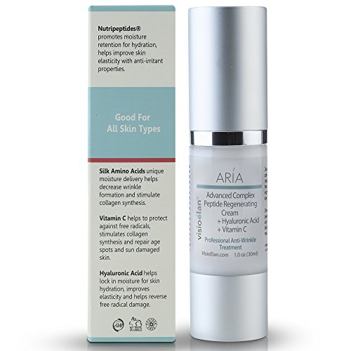 Peptide Rich Firming Face Cream With Hyaluronic Acid and Vitamin C - Anti Aging Moisturizer Firms Skin, Reduces Wrinkles, Age Spots, Improves Elasticity - Visio Elan