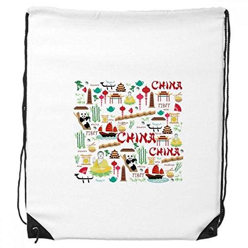 China Bamboe Lantaarn Fan Panda Budda de Grote Muur Schip Boom Trekkoord Rugzak Fijne Lijnen Winkelen Creatieve Handtas Geschenk Schouder Milieu Polyester Tas
