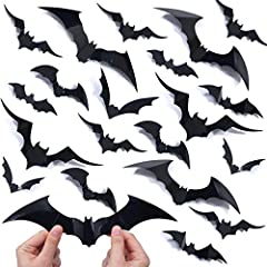 Updated version. 100 pcs LARGE plastic bats halloween wall stickers. Bat decals of 5 MORE sizes & shapes. Bats packed flat, DIY bat wing to creat 3D flying effect. Simple but Impactful halloween wall decorations! Scary decor bat stickers all over you...
