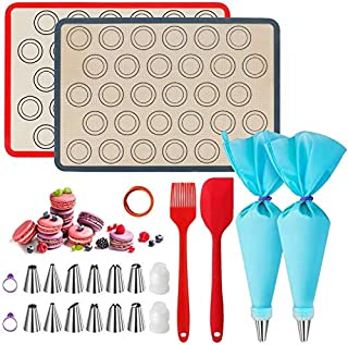 23 Pcs Silicone Macaron Cookies Baking Mats Kit Reusable Nonstick Liners for Food Safe,Tapis de Cuisson en Silicone,Anti-A...