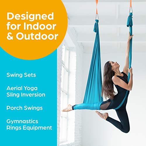 Jungle Gym Kingdom Swing Set Brackets - Heavy Duty Swing Hanger w/ Locking Snap Hooks - Indoor/Outdoor Playground Swing Set Accessories for Kids Swing (Set of 2)